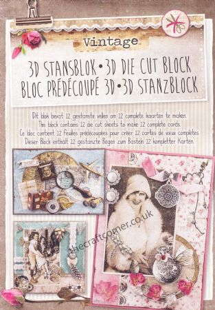 Vintage 3D Die Cut Decoupage A4 Block  By Studio Light